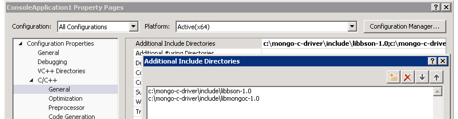 Using libmongoc in a Microsoft Visual Studio project — MongoDB C